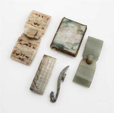 Five Chinese Jade Buckles 19th-20th Century
