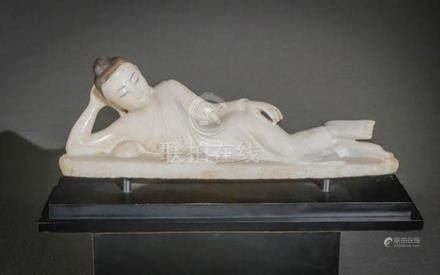 Burmese Partial Black Painted Alabaster Reclining Buddha 19t