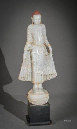 Burmese Partial Painted Alabaster Standing Buddha 19th Centu