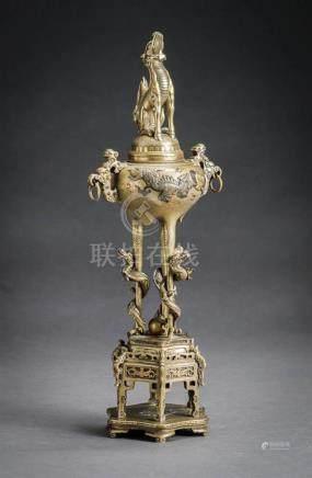 Japanese Iroe-Takazogan Gilt Bronze Censer (Koro) Meiji Peri