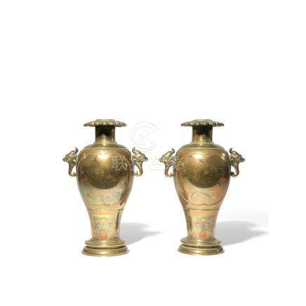 A PAIR OF JAPANESE MIXED METAL VASES