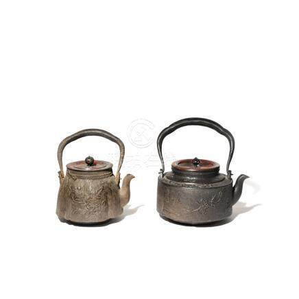TWO JAPANESE CAST-IRON KETTLES AND COVERS