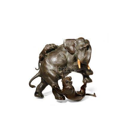 A LARGE JAPANESE BRONZE MODEL OF AN ELEPHANT