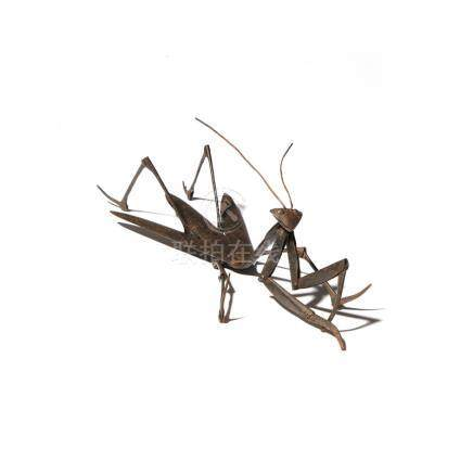 A JAPANESE IRON ARTICULATED MODEL OF A MANTIS