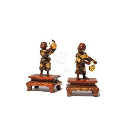 TWO SMALL JAPANESE GILT-BRONZE MODELS OF BOYS BY MIYAO