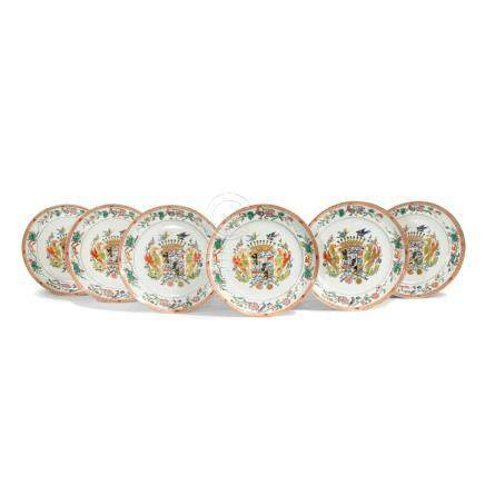 A SET OF SIX CHINESE ARMORIAL PLATES