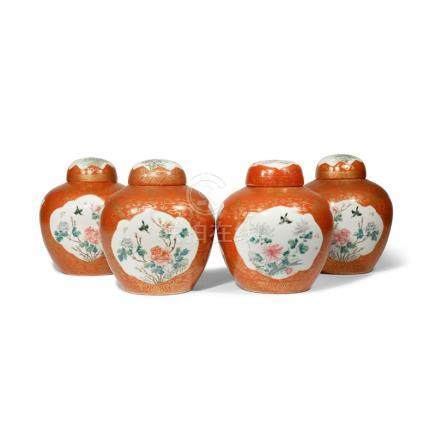 FOUR CHINESE FAMILLE ROSE OVOID JARS AND COVERS