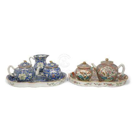 TWO CHINESE ENAMELLED PART CABARET SETS