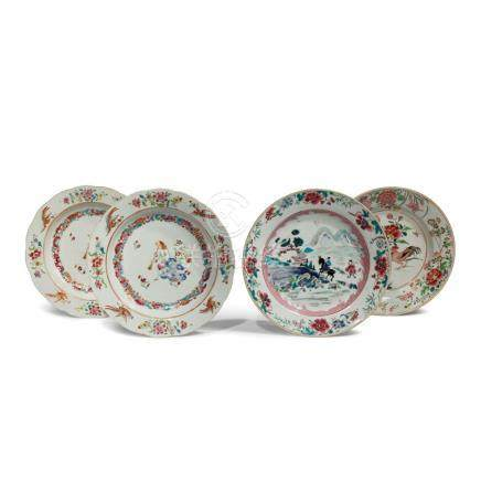 FOUR CHINESE FAMILLE ROSE DISHES
