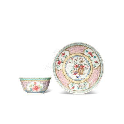 A CHINESE FAMILLE ROSE TEA BOWL AND SAUCER