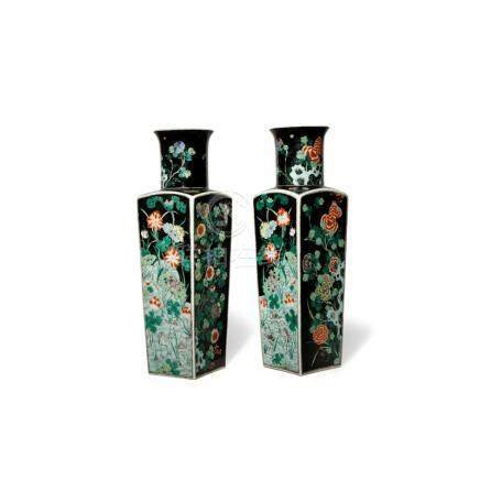 A PAIR OF CHINESE FAMILLE NOIRE 'FOUR SEASONS' VASES