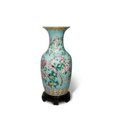 A CHINESE FAMILLE ROSE TURQUOISE-GROUND VASE