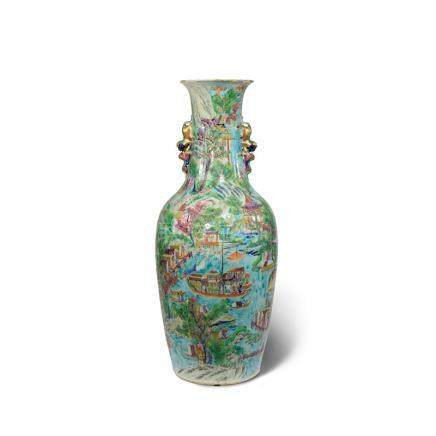 † A LARGE CHINESE CANTON 'RIVER SCENE' VASE