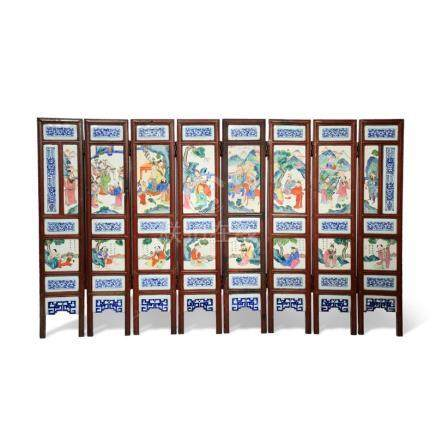 A CHINESE FAMILLE ROSE EIGHT-FOLD SCREEN