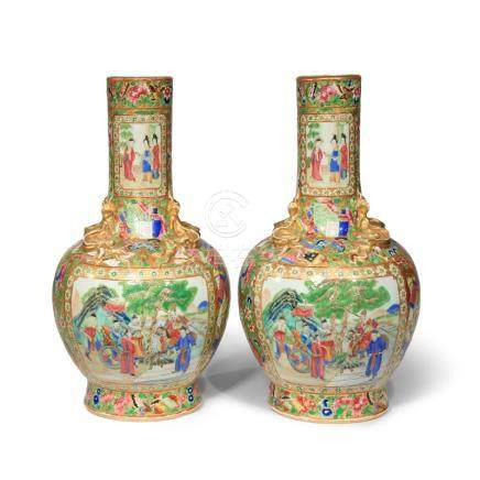 A PAIR OF CHINESE CANTON FAMILLE ROSE BOTTLE VASES