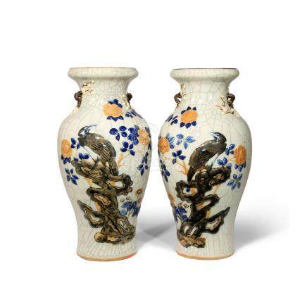 A PAIR OF CHINESE CRACKLE GLAZED BALUSTER VASES