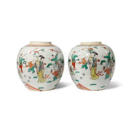 A PAIR OF CHINESE FAMILLE VERTE OVOID JARS
