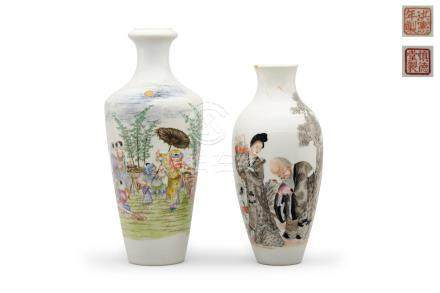 Two polychrome enameled vases Shengdetang and Hongxian iron-red marks, Republic period (2)