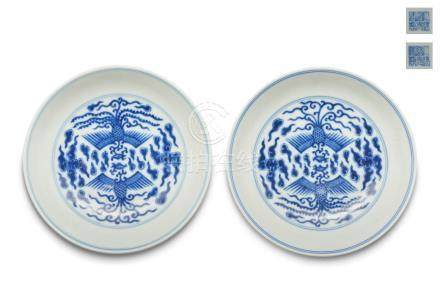 A pair of blue and white phoenix plates Daoguang six-character mark (2)