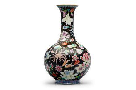 A black-ground famille-rose 'floral' vase Qianlong six-character iron-red mark