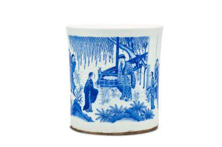 A blue-and-white brush pot