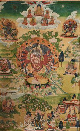 A Tibetan Thangka of Ganapati Mid 20th century