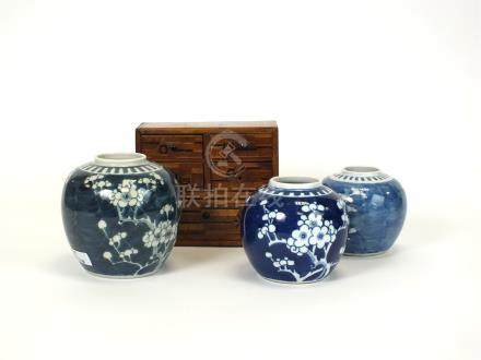 Three 19th century and later Chinese porelain ginger jars and a Japanese Meiji miniature cabinet