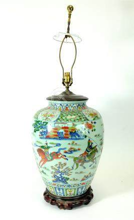 A large Chinese porcelain vase lamp