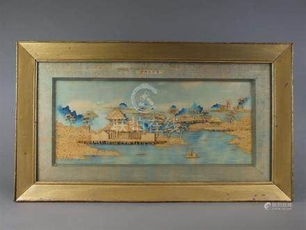 A Chinese cork picture of a riverscape