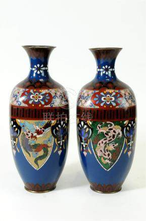A pair of Chinese cloisonné enamel vases