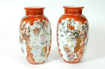 Pair of early 20th century Japanese Katani porcelain vases