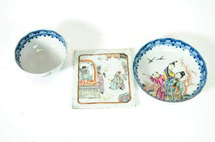 A 19th century Chinese footed bowl and dish