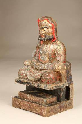 Two 19th Century Chinese wooden temple figures, carved wood with laquer and gilt detail. 41cm high