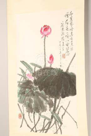 20th Century Chinese Scroll with applied painting, floral study, signed, red seal mark. 131cm x 31cm