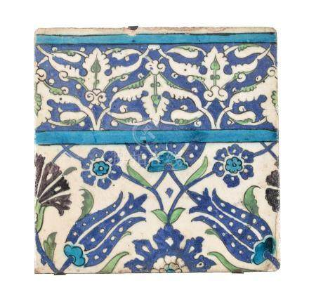 A Damascus glazed fritware tile Ottoman Syria late 16th century
