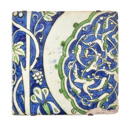A large Damascus fritware tile Ottoman Syria late 16th century