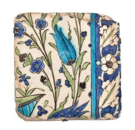 A Damascus glazed fritware polychrome tile Ottoman Syria late 16th century