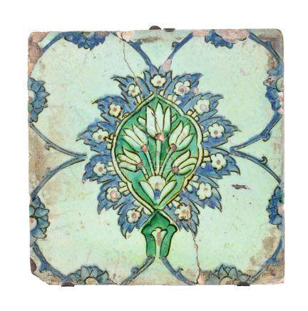 A Ottoman polychrome glazed fritware tile Turkey late 17th century