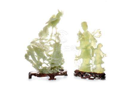 TWO 20TH CENTURY CHINESE JADEITE CARVINGS