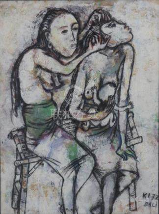Two Balinese women, holding a child. Signed with initials and dated '72 lower right.Gouache 38 x