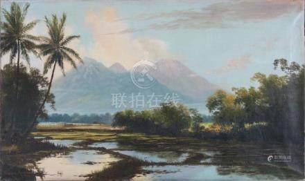 Frederik Kasenda (1920-1950)Sawah landscape with distant mountains. Signed and dated 1930 lower