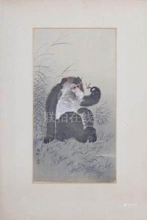 Two Japanese woodblock prints, monkeys. Ohara Koson (1877-1945).(2) 33,5 x 18 cm