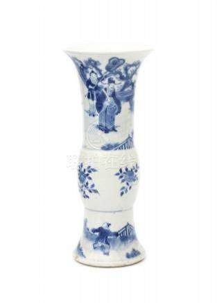 A Chinese blue and white vase, the neck decorated with a dignitary in a garden and the base with