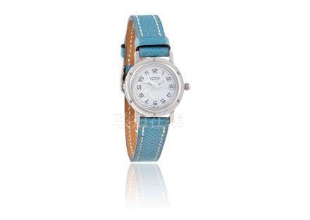 A LADY'S STAINLESS STEEL 'CLIPPER' WRISTWATCH, BY HERMES7-jewel quartz ETA move
