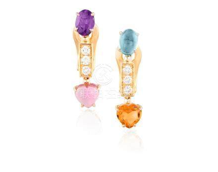 A PAIR OF GEM-SET 'ALLEGRA' EARRINGS, BY BULGARIEach designed as an articulated