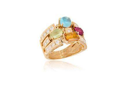 A GEM-SET 'ALLEGRA' RING, BY BULGARISet with three articulating rows of brillia