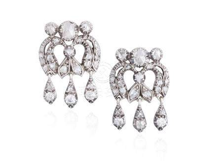 A PAIR OF 19TH CENTURY DIAMOND PENDENT EARRINGSEach of chandelier design, set t