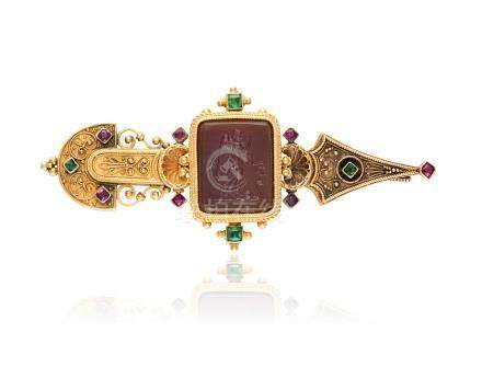 A 19TH CENTURY ETRUSCAN REVIVAL GEM-SET AND GOLD INTAGLIO BROOCH, CIRCA 1860The