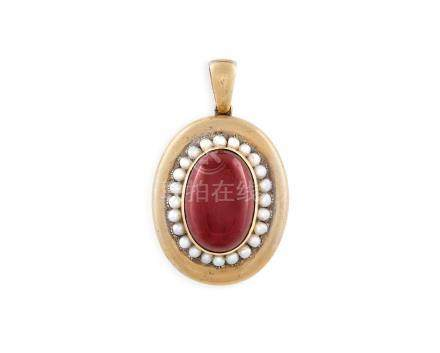 A VICTORIAN GARNET AND SEED PEARL PENDANT LOCKETThe central oval-shaped cabocho