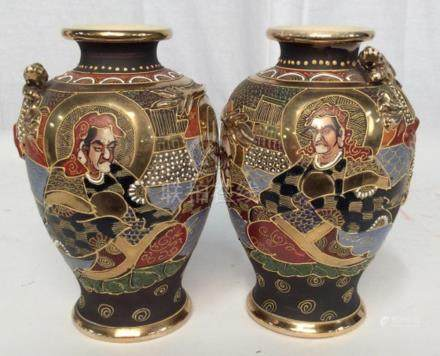 Pair Signed Asian Porcelain Vases
